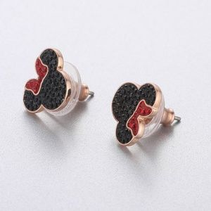 Swarovski Mickey & Minnie Pierced Earrings, Black